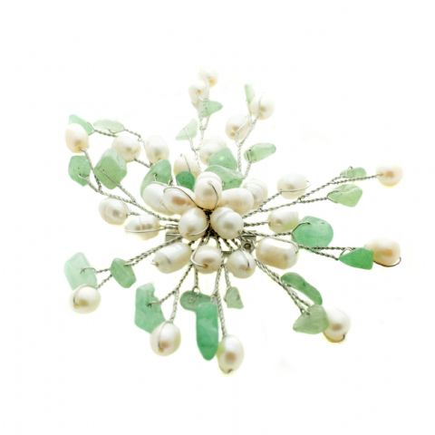 Pearl Brooches White Pearls with Aventurine Gemstones